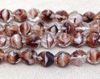 25 Brown Striped Czech Faceted Glass Beads 8mm