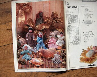 magic crochet 98- creche figures baby Jesus Mary Joseph angels ox donkey