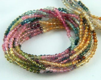 Mix Color Tourmaline Faceted Natural Straight Drilled 2mm Round Rondelle Beads in Beautiful Greens, Pinks, Blues and Brown Color Shades