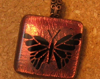 Butterfly Pendant Dichroic Pendant Fused Dichroic Glass Dichroic Jewelry Butterfly Jewelry Fused Glass JewelryEtched Butterfly