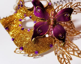 Gold and Purple Butterfly Mask