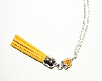 Yellow Tassel Necklace, Boho Jewelry, Layering Necklace, Long Tassel, Mustard Yellow Long Necklace, Long Boho Necklace, Boho Tassel Jewelry