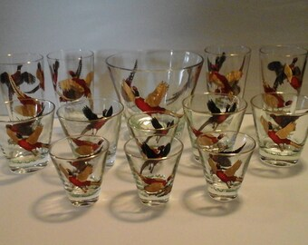 Vintage Bar Glassware, set Pheasent High ball, Low ball, Shot glasses and Ice Bucket 13 pieces