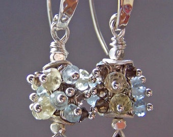 Light Blue Brown Yellow Earrings Gemstones Beaded Neutral - Refreshing