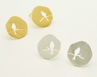 Etched Bluebird On A Branch Stud Earrings - Gold, Silver & Rose Gold