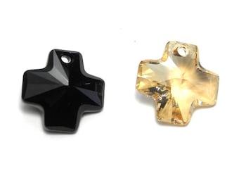 1x Large Swarovski Cross Pendant (6866) 20 mm - Jet or Crystal Golden Shadow - Genuine Austrian Crystal