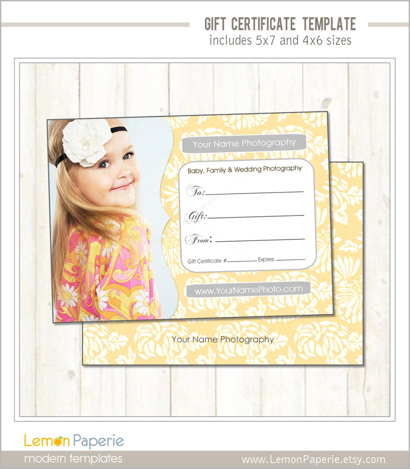 5x7 and 4x6 gift certificate template fresh blossoms psd zoom 1betcityfo Choice Image