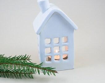 Ceramic Tealight Lantern | Handmade Ceramic House | Housewarming Gift | White Candle Holder