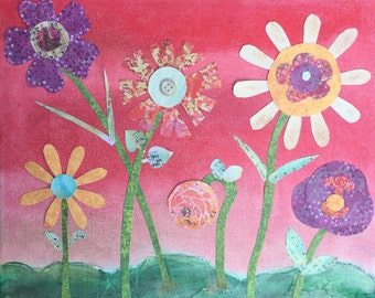 Print of original mixed media collage art whimsical flowers