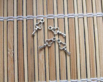 4 silver metal key fobs