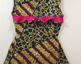 Ankara Bias Cut Sleeveless Blouse. Casual.
