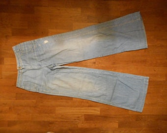 vintage 70s Happy Legs denim  highwaist hiphuggers wide leg blue jeans w26
