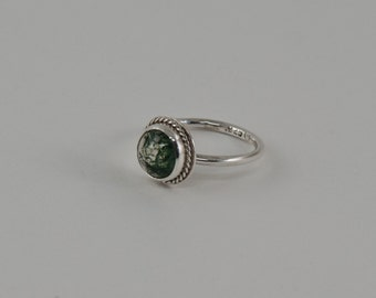 Moss Agate Cabochon Ring in Sterling Silver