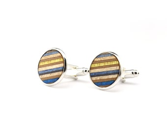 Yellow Blue Wood Cufflinks - Recycled Skateboard Cufflinks - Womens Cufflinks - Wedding Gift - Wooden Cufflinks - Groomsmen Gift