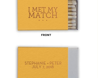 I MET MY MATCH Personalized Match Boxes - Favors, Party Favors, Custom Matches, Foil Stamped Match Boxes