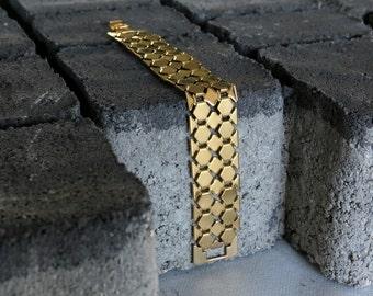 Gold link bracelet, Gold chain bracelet, statement bracelet, chunky gold bracelet, Yellow gold bracelet, 24k gold bracelet, gold jewelry