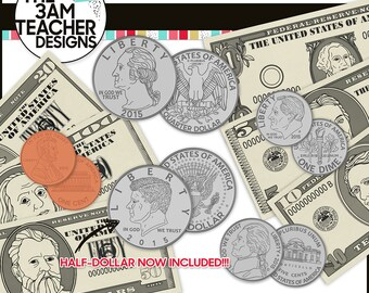 U.S. Currency : Money and Coin Digital Clip Art
