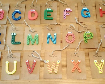 Wooden initial letter gift tags