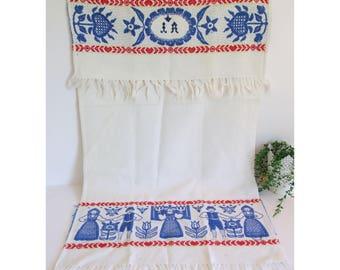 Swedish Kitchen Towel/ Towels curtain // Antique Monogram Swedish Kitchen Towel Embroidery