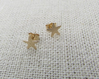 14KT Tiny Star Stud Earrings, Celestial Star Stud Earrings- 14KT Yellow Solid Gold Polished or Satin Matte Finish