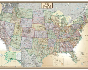 Swiftmaps United States, USA, US Executive Modern Day Antique Wall Map Mural Wall Art Travel Decor for Home or Office Decoration Accent