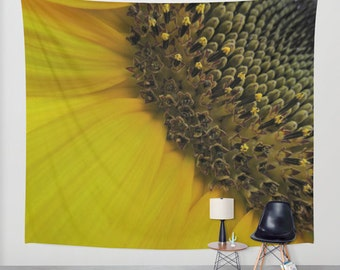 SUNFLOWER Tapestry, Yellow, Flower, Yellow Large Wall Decor, Nature, Floral, Office, Dorm, Sunny Tapestry, Happy, Macro, Seeds, Vivid