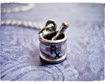 Silver Mortar and Pestle Necklace - Antique Pewter Rx Mortar and Pestle Charm on a Delicate Silver Plated Cable Chain or Charm Only