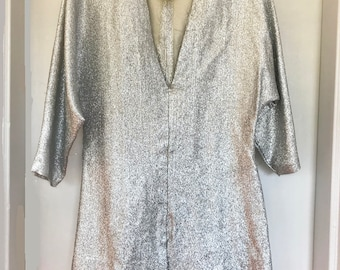 Vintage Silver Metallic V-neck Top or Mini-Dress