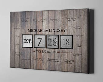 SALE 50% Off Canvas Guest Book, Wood Wedding Canvas GuestBook, Rustic Guest Book Alternative, Anniversary Gift Ideas for Couples - GB44