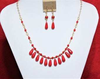 Splash of Red and Gold Necklace and Earrings Set with gold-plating and red glass Beads