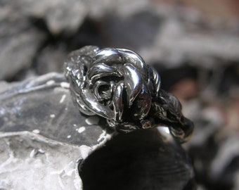 Silver Rose Ring, Size 7, Sterling Silver Rose, Rose Jewelry