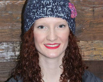 Fluffy Blue Tweed Knitted Hat with Flower