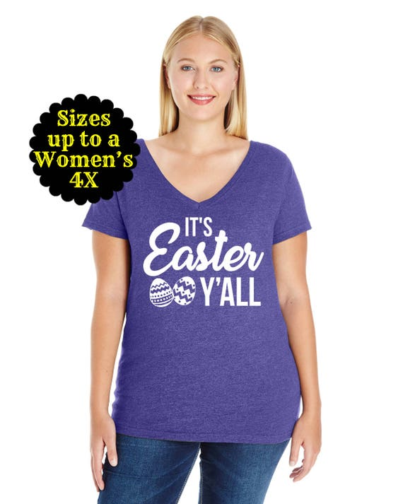 It's Easter Y'all Jersey Women's V-Neck Shirt, Easter Shirt, Plus Size Easter Shirt, Easter Shirt for Women, Happy Easter Shirt, Easter Tee