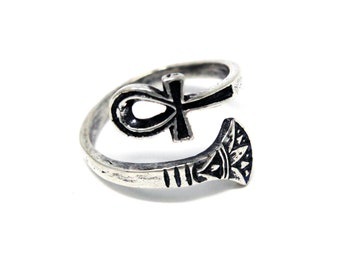 Silver Ankh Ring - Egyptian Ring - Egyptian Ankh - Ankh Jewelry - Adjustable Ring -The Afterlife - Sterling Silver 462