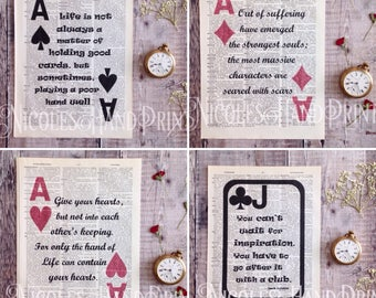 Free Shipping, Free Delivery, Playing card prints, Kahlil Gibran Quote, BUY 2 GET 1 FREE, Ace of Spades, Ace of Diamonds, Ace of Hearts