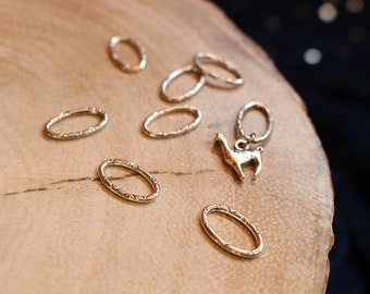 Limited Edition Llama Alpaca Oval Stitch Markers for Knitting - Silver Rings - Llama Charm - For Knitters - Notions