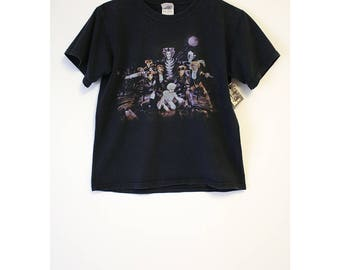 Vintage Cats Musical Shirt 1981 Broadway Faded Black Crop Top T-shirt- Size Women's Small (Cotton) *Rare*