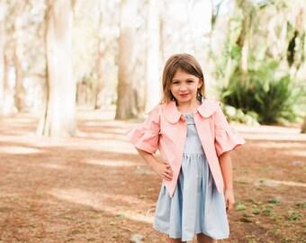Ready to Ship, Suanite Girls Dress, Girls Pink Jacket, Girls Jacket, Toddler Jacket, Girls Pastel Jacket, Ruffle Jacket, Pink Peter Pan 5