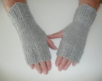 SALE: Hand Knit Fingerless Mittens/Texting Gloves - Grey Glitter Wrist Warmers- One Size Fits All