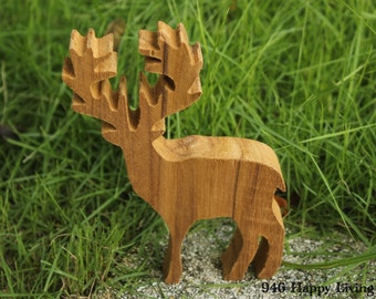 wooden reindeer decor, reindeer wood, teak wood decor, home decor, carved wood