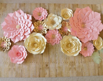 PAPER FLOWERS SET. Special price!!!!2 giant, 2 medium, 8 small flowers. Perfect for decorating a backdrop or wall. For any occasion. seattle
