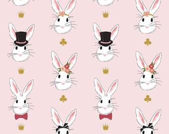 Wonderland 2 - Main Pink SPARKLE - Riley Blake Designs - Gold Metallic Bunny - Quilting Cotton Fabric - choose your cut