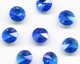 Vintage Sapphire AB Rivoli Pendant Beads Swarovski 10mm Art. 6200 - Art 21