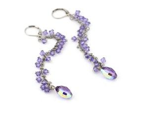 Long Light Purple Swarovski Crystal Dangle Earrings with Faceted Purple AB Drops