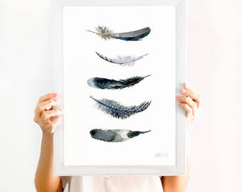 Black and white art print. Minimalist black and white wall art. Black feather giclee print from original watercolor painting. Feather art
