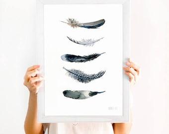 Blanco y negro impresión de arte. Arte de la pared blanco y negro minimalista. Plumas negro Giclée impresión de acuarela original. Arte de la pluma