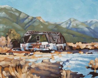 "Landscape Oil Painting, Original Painting of Rural Scene, Mountains, Abandoned House, Old Car, Graffiti - ""Ruins in Q-Town"""