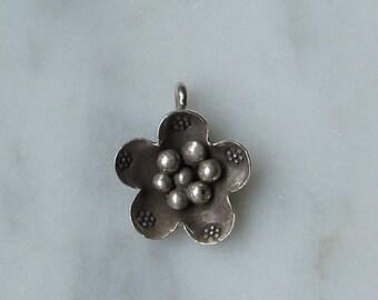 HT-174 Thai Hill Tribe Fine Silver Flower Charm