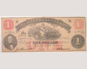 1862 Virginia Treasury Note - Richmond, Virginia