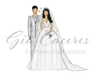 PRINT Wedding couple illustration | Wedding illustration | Bride and groom illustration | fashion illustration